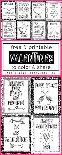 These sweet little printable Valentine cards are begging to brighten your February. Print in black and white and add some colors with markers or crayons. Best of all they are free to print and use in your home or classroom!