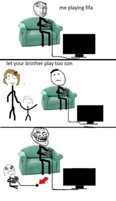 """We did this to all the kids. """"Yes you're really playing"""" lol Funny Puns, Really Funny Memes, Stupid Funny Memes, Funny Games, Hilarious, Funny Stuff, Derp Comics, Rage Comics, Funny Comics"""