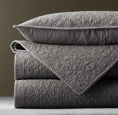 RH's Vintage-Washed Belgian Linen Quilt King Sham:Our Belgian linen quilt features a reproduction of an intricate vintage tile design, lending the bed a distinctive finish. Grey Bedding, Linen Bedding, Luxury Bedding, Bedding Sets, Neutral Bedding, Comforter Cover, Pillow Covers, Home Bedroom, Pillows