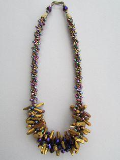 Plated Stick Crystal Kumihimo Necklace by NoGlitzNoGlory on Etsy, $293.75