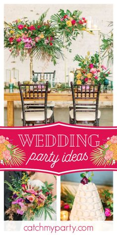 Kristen J's Wedding / Modern Tropical Warehouse Chic - Tropical Nouveau Wedding Inspiration at Catch My Party Chic Wedding, Floral Wedding, Rustic Wedding, Bridal Shower Cakes, Bridal Shower Party, Modern Lanterns, Balloon Installation, Floral Decorations, Modern Tropical