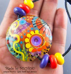 Flower Power   Art Glass  1 focal bead by Michou by michoudesign