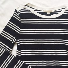 """""""Everleigh"""" Anthro Top Black and off-white striped sweater from Everleigh (Anthropologie). Interesting boat neck opening. Size Medium. Has some stretch to it, fits TTS. Measurements: Width laying flat 16"""", Length 21"""" Materials:78% Cotton, 17% Polyester, 5% Spandex Anthropologie Tops"""