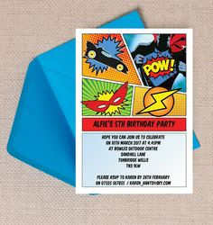 Comic Book Superhero Kids Birthday Party Invitation. Printable PDF or professionally printed. Personlise online.