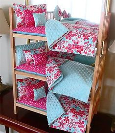 girl dolls Doll Bunk Bed American Made for 18 Doll Like American Girl With Bedding - long club Casa American Girl, American Girl Doll Bed, American Girl Crafts, American Doll Clothes, American Girls, American Girl Furniture, Accessoires Lps, Doll Bunk Beds, American Girl Accessories