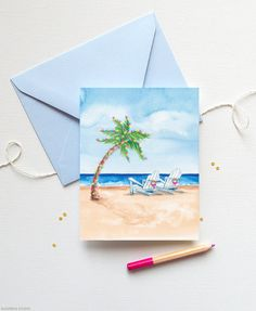 Beach Christmas cards with Palm Tree | www.mospensstudio.com