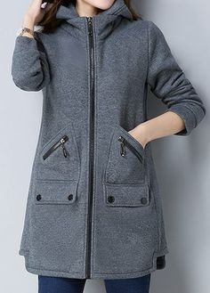 Hooded Collar Zipper Up Pocket Grey Coat. Grey Coats For Women, Jackets For Women, Clothes For Women, Fall Outfits For Work, Dresses For Work, Stylish Dresses, Girls Dresses, Casual Outfits, Fashion Outfits