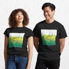 Illustration of a lake scene and a reflection. The artwork makes use of simple lines, a lime colour pallet and geometric pattern. Did you know that lakes are large bodies of water that are surrounded by land and are not part of an ocean?  #tshirts #lakescene #murkywater #foresttrees #mountains #reflections #naturelover #geometricpattern #green #shades of lime #simplistic lines #aesthetic #minimalist #visco #tiktok Geile T-shirts, Beau T-shirt, Cool T Shirts, Chiffon Tops, Female Models, Heather Grey, Classic T Shirts, Shirt Designs, T Shirts For Women