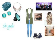 """""""Oh Yeah by Big Time Rush"""" by ocean-goddess ❤ liked on Polyvore featuring New Look, WearAll, Converse, Swarovski and ABS by Allen Schwartz"""