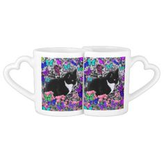 Freckles in Butterflies III, Tux Kitty Cat Lovers Mugs #DianeClancy black and white cat