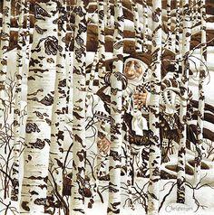 "James C. Christensen Limited Edition Print: ""A Christensen Character Cleverly Camouflaged in a Doolittle Landscape"" Artist: James C. Christensen Title: A Christensen Character Cleverly Camouflaged in a Doolittle Landscape Size: x 15 Edition: S/N Categorie Fantasy Kunst, Fantasy Art, Native American Art, American Artists, Illustrations, Illustration Art, Hidden Art, Art Occidental, Hidden Pictures"