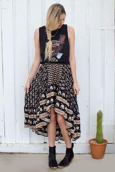 Bohemian Royale Maxi Skirt - Charcoal