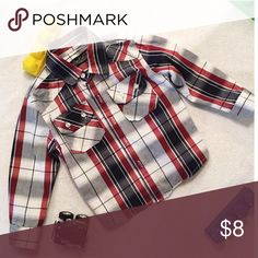 Sovereign Codes 2T Plaid button down in perfect condition.   2T   All garments are oxygen  soaked and cleaned. Ironed and starched before shipment.   Smoke and Pet free home. Nordstrom Shirts & Tops