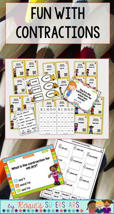 Contractions are fun with these easy to use activities. PowerPoint games, task cards, matching centers, worksheets and Bingo are all ways to have students practice their identifying contractions skills.