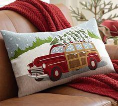 Woody Car Embroidered Lumbar Pillow Cover #potterybarn