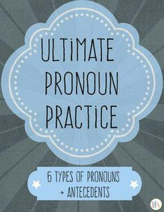 This bundle covers every aspect of pronoun use. Included are nine activities that address different levels of learning.Here are the specifics: * Lists of pronouns: Pronouns are listed for student reference - personal, compound personal, indefinite, relative, demonstrative, and interrogative.* 10 sentences to practice finding pronouns and their antecedents. * 10 sentences to practice identifying vague antecedents and rewriting sentences to clarify pronouns.* 10 sentences to choose the correct…