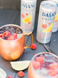 Raspberry Lemonade Mock-scow Mule with Dasani Sparkling Raspberry Lemonade Water #NewWayToSparkle #Mocktail AD