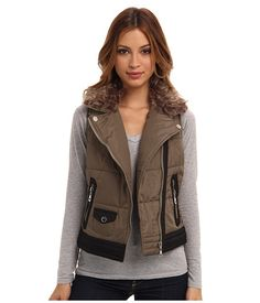 dollhouse Asymetric Zip-Front Moto Army Green - 6pm.com