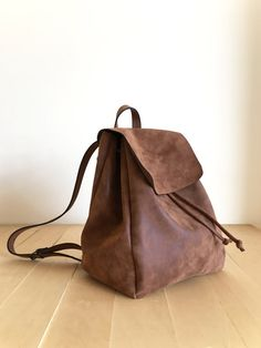 Faux Leather Brown Backpack - Vegan Backpack - Water Resistant - Vegan Leather - Rustic Leather - Distressed Leather - Boho Bag - Gift Ideas