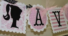 Vintage Barbie Silhouette Name Banner in Pink White and Black | socuteparties - Paper/Books on ArtFire