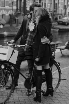 kiss, man, woman, bicycle, boots, love, black and white, photography