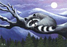 ACEO Print Raccoon Moon Tree | eBay