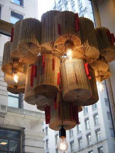 Anthropologie window display ... book chandelier