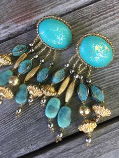 Vintage X-Large Artsy Round Peach Blue Gold Stitched Thread Clip-On Earrings