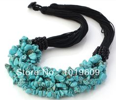 Aliexpress.com : Buy Free shipping elegant style multi strand blue turquoise chips necklace from Reliable Power Necklaces suppliers on Bjbea...