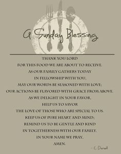 A Sunday Blessing Was Written As Nod To The Tradition Of Dinners And