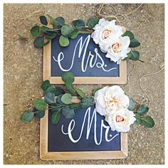 Mr. & Mrs. Wooden Rustic Wedding Sweetheart Table by TheBeezeKnees