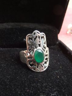 925 sterling silver ring with hamsa hand green by silveringjewelry
