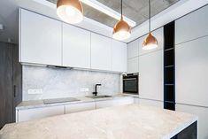 Modern kitchen with dekton countertops backsplash white cabinets Modern Kitchen Design, Kitchen Designs, White Cabinets, Kitchen Cabinets, Backsplash, Countertops, Home Decor, White Dressers, Vanity Tops