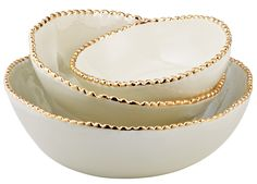 I really want these! Gold-Studded Stacking Bowls