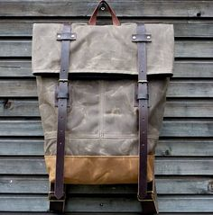 Waxed canvas rucksack/backpack with folded top and double waxed bottom medium size - more amazing rucksack here http://www.forthemanilove.com/treesizeverse.html