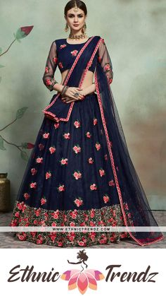 Rich look attire to give your a right choice for any party or function. Add a vibrant burst of color to your wardrobe with this navy blue net trendy lehenga choli. The lovely sequins and thread work work throughout the attire is awe inspiring. Comes with matching choli and dupatta. (Slight variation in color, fabric & work is possible. Model images are only representative.) Plain Lehenga, Navy Blue Lehenga, Indian Lehenga, Silk Lehenga, Lehenga Blouse, Anarkali Dress, Pakistani, Party Wear Lehenga, Bridal Lehenga