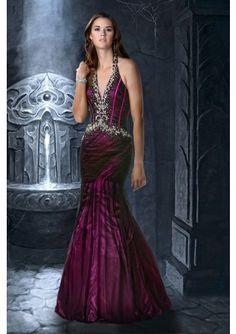 Trumpet Mermaid Halter Floor Length Beading Taffeta Prom Dress