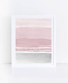 Pink Grey Abstract Art Watercolor Printable Art Pink Grey