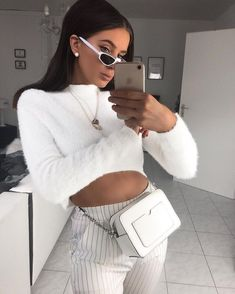 Top  Sweater  White  Long sleeve  High neck  Turtleneck  Crop  Belly  Pants  Trousers  Black  Multicolored  Striped  Stripes  Bag  Purse  Crossbody  Silver  Accent  Earrings  Pearl  Stud  Necklace  Multiple  Layered  Fall  Autumn  P851