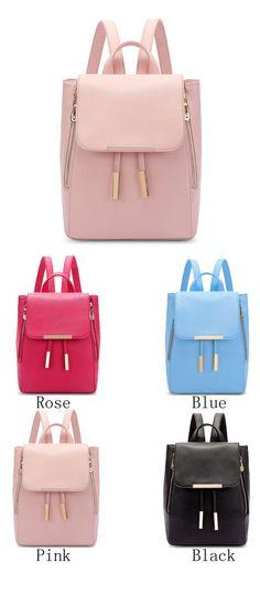 Elegant Pink Funky Lady Solid Simple Square PU Drawstring Hasp Satchel Backpack…
