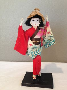 Vintage Japanese Gofun Doll with Glass Eyes & by KMSCollectibles