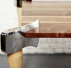 fire axe table   From Fire-Filled Coffee Tables to Newsstand Side Tables