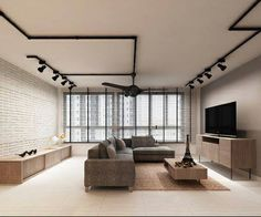 black track lights + brick wall + grey sofa = want!! Track Lights Living Room, Living Room Lighting, Kitchen Lighting, Pendant Track Lighting, Black Track Lighting, Rustic Lighting, Interior Lighting, Apartment Lighting, Light Brick