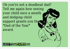 Oh you're not a deadbeat dad? Tell me again how seeing your child once a month and dodging child support grants you the Dad of the Year award.