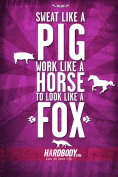 Sweat like a pig and work like a horse to look like a fox. #hardbody #fitness   www.hardbody.com    Fitness Motivational Quotes