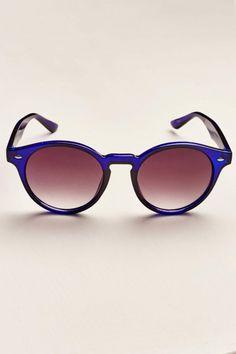 1146bd70c3 Cobalt Blue Round Frame Sunglasses
