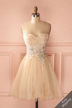 Grazia - Beige and silver tulle bustier dress Grad Dresses, Homecoming Dresses, Dress Outfits, Short Dresses, Fashion Dresses, Casual Dresses, Dress Prom, Bustier Dress, Tulle Dress