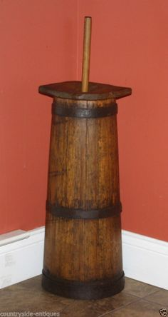 Antique Country Primitive Wooden Butter Churn; 19th Century Staved Pine Churner
