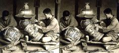 THE SKILLED BRONZE WORKERS OF OLD JAPAN -- Metalic 3-D Glowing in the Shadows of a Kyoto Workshop  1906 stereoview by British photographer Herbert Ponting. This is one of his final images taken before leaving Japan for the last time.   The hard working artisans seen here are in a finishing room of the NOGAWA BRONZE WORKS of Kyoto. These superb lanterns are being fabricated for the KOYA-SAN TEMPLE.