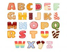 Set of tasty alphabet letters Premium Ve. Hand Lettering Alphabet, Doodle Lettering, Lettering Styles, Lettering Design, Cute Fonts Alphabet, Alphabet Design, Alphabet Letters, Bubble Alphabet, Letter Tracing